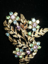 Coro Multi Pastel Rhinestone Flower Brooch/Pin