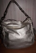 Coach 12669 Zoe Large Leather Metallic Gold Platinum Hobo Handbag