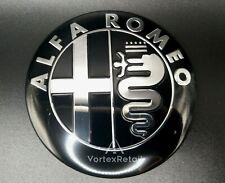 74mm ALFA ROMEO EMBLEM BADGE BLACK & SILVER GT 147 156 159 MITO GIULIETTA BONNET