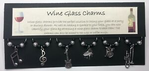 Music Themed Wine Glass Charms - Musician Gift - Black & Silver Piano, Drums
