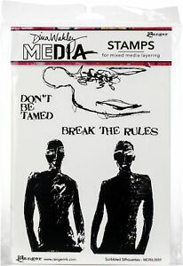 """Dina Wakley Media Cling Stamps 6""""X9""""-Scribbled Silhouettes"""
