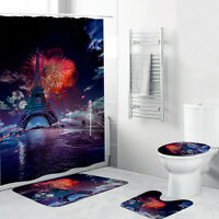 4Pcs Waterproof Eiffel Tower Non-Slip Bath Mat Rug Toilet Cover + Shower Curtain