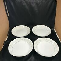 Set of 4 Vintage ENGLISH GARDEN Fine China 1221 Platinum Soup Bowls