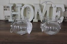 SET OF 2 DECORATIVE GLASS STORAGE JARS , PRETTY BEADED HANDLE,DRESSING TABLE ETC