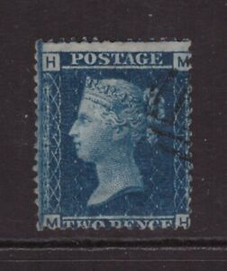 Queen Victoria Twopenny Blue 2d SG 45 SCARCE Plate 12 Fine used MH checkletters