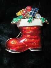 Festive Santa Claus Boot Christmas Brooch Pin Enamel Gold tone
