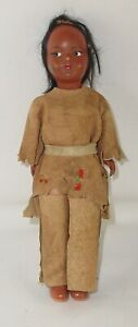 Vintage Child Toy Native American Indian Doll, Buckskin Clothing and Accessory