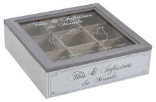 French Vintage Style Wooden Tea Bag Box Storage Chest Nine 9 Compartment Caddy