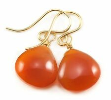 Carnelian Earrings 14k Gold Filled Smooth Briolettes Heart Teardrop Burnt Orange