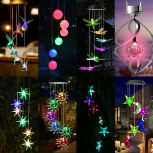 Solar LED Wind Chime Light Color Changing Outdoor Garden Hanging Patio Lamp Lot