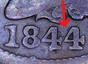 1844/81 Braided Hair Large Cent; VG; Popular Overdate Variety!