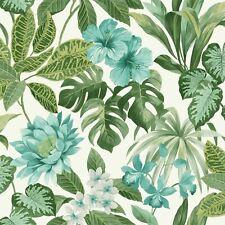Tropical Rainforest jungle Palm Leaf Floral Wallpaper Flower White Green Teal