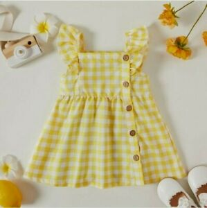 size 3-6m to 18-24 months baby girls dress yellow gingham flutter sleeve dress