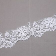Bridal Wedding Off White Rose Flower Lace Trim Veil Per 1/2 Meter DIY