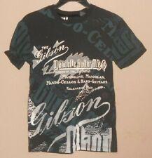 Men's Gibson Pure Size S -Short Sleeve Mandolin Guitar Mtg Co Black Shirt Top