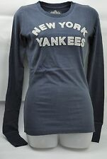 MLB New York Yankees Womens Red Jacket Tshirt Long Sleeve Dark Blue Small Cotton