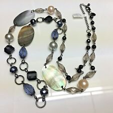 "Glass Beads -Rv $76 Nwt 38"" Lia Sophia Fathom Necklace Genuine Mother-Of-Pearl"
