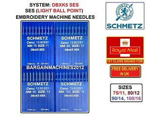 DBXK5 SES SIZES 75/11 TO 100/16 EMBROIDERY INDUSTRIAL SEWING MACHINE NEEDLES