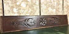 Architectural salvage gothic rosette pediment Antique french wood crest cornice