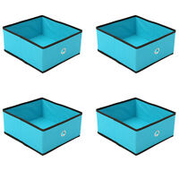 Pack of 4 Foldable Storage Bins Cubes Fabric Cubby Basket Drawers Organizer