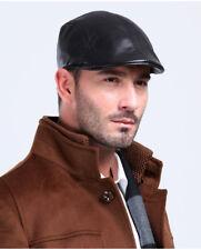 Real Black Ivy Hat Newsboy Gatsby Cap Men Golf Driving Flat Winter Sheepskin Cap