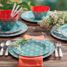 Service for 4, Teal 12-Piece Dinner Ware Set Fancy Medallion Dishes Plates Bowl