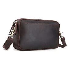 Retro Leather Mens Small Messenger Shoulder Bag Handbag clutch wrist bag Pouch
