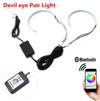 RGB LED Demon Eye Halo Ring Headlight Projector Lens Bluetooth Remote Control x2