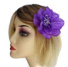 Fab Violet Fleur Fascinator Barrette À Cheveux Adhérence Tissu 10 cms largeur