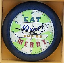 New! Vintage Eat Drink N Be Merry Colorful Quartz  Wall Clock-208