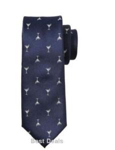 Banana Republic Mens Neck Tie True Navy Novelty Martini Print $40 Brand New