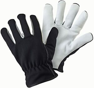 Briers LEATHER PALM LINED GARDENERS GLOVES (LARGE) BLACK