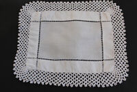 Vintage small rectangular white linen cloth with 3cm crochet edges.