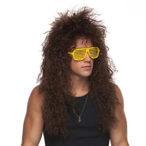 80's Heavy Metal GLAM ROCK Rocker Curly Jon Bon Jovi Winger Wig Brown