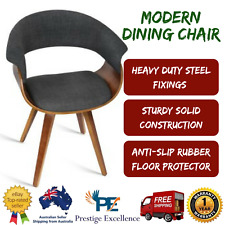 Modern Dining Chair Lounge Sofa Seat Curved Back Rest Cotton Fabric - Charcoal