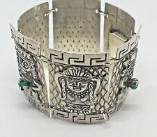 "Vintage~0060~Sterling Silver~Panel-Aztec Deities/Gods Bracelet- 7"" / 61g.  #577"