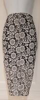 Womens River Island Stretch Midi Straight Pencil Lace Black White Floral Skirt10