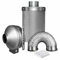 "iPower 4 Inch 190 CFM Duct Inline Fan with 4"" Carbon Filter 8 Feet Ducting Combo"