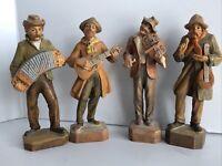 Vintage Lot 4 Hand Carved Wooden Musicians Playing Guitar Banjo Violin Figures