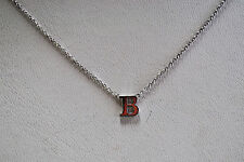 14K SOLID WHITE GOLD INITIAL NECKLACE ON 14K CABLE CHAIN - LETTER B