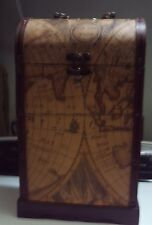 Via Vee  Map Covering Traveling Wood Box With Swing Latch & Metal Handle