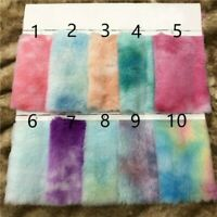 Faux Rabbit Fur Fabric Plush Gradient Rainbow Sewing Crafts DIY Material Costume