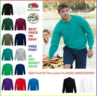 FRUIT OF THE LOOM Classic Raglan SWEATSHIRT SS8 Jumper Top Hoody 13 Colours