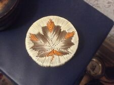 Old Native Grass Ottawa Indian Porcupine Quill Bark Basket~Maple Leaf Lid~Parkey