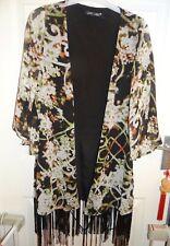Love Label fringed Kimono, lined black body, floral trellis pattern ,Size S,