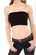 Cotton Blend Bandeau Black Tops & Shirts for Women