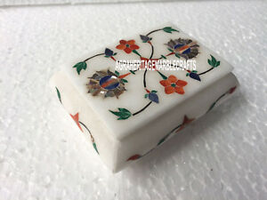 "4""x3""x2'' Marble Trinket Jewelry Box Marquetry Work Inlay Gifts for Friend H3528"