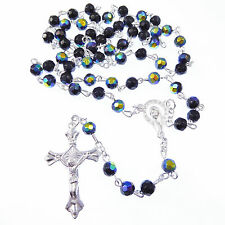 Iridescent long black glass rosary beads silver metal crucifix faceted beads