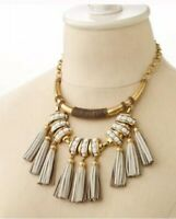 Stella & Dot Tribal Leather Tassel Necklace Vintage Gold