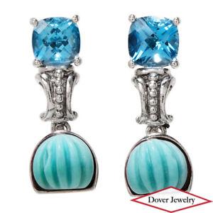 Estate Topaz Turquoise Sterling Silver Fancy Sea Shell Dangle Earrings NR